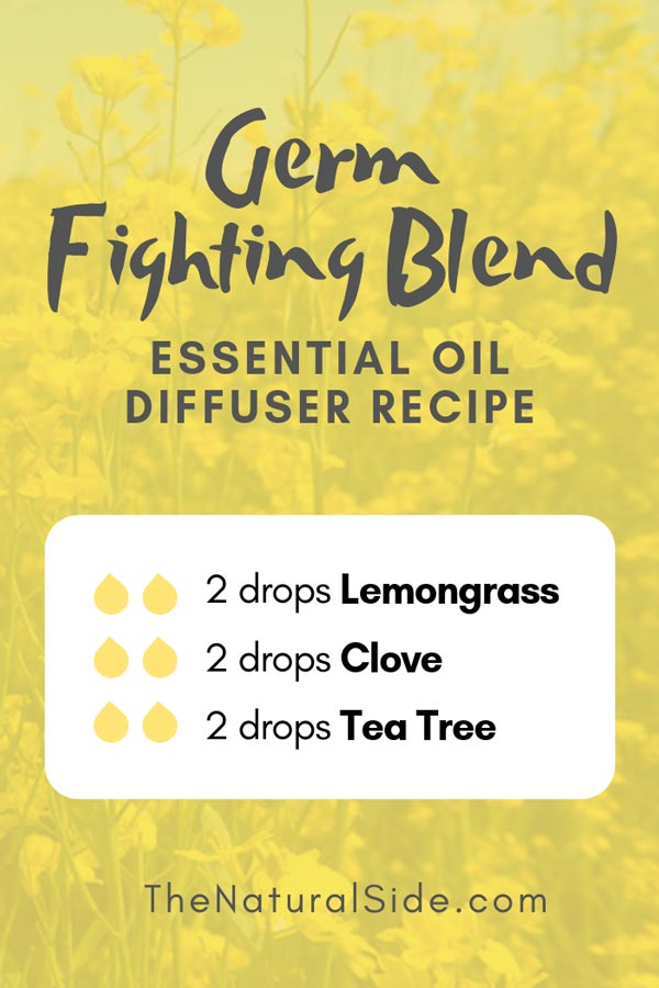 New to Essential Oils? Searching for Simple Essential Oil Combinations for Diffuser? Check out these 21 Easy Essential Oil Blends and Essential Oil Recipes Perfect for Beginners. #essentialoil #diffuser #germ Germ Fighting Blend 2 drops Lemongrass + 2 drops Clove + 2 drops Tea Tree