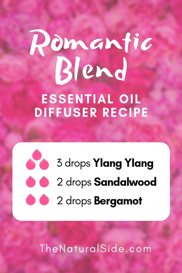 New to Essential Oils? Searching for Simple Essential Oil Combinations for Diffuser? Check out these 21 Easy Essential Oil Blends and Essential Oil Recipes Perfect for Beginners. #essentialoil #diffuser #headache Romantic Diffuser Blend 3 Drops Ylang Ylang + 2 Drops Sandalwood + 2 Drops Bergamot