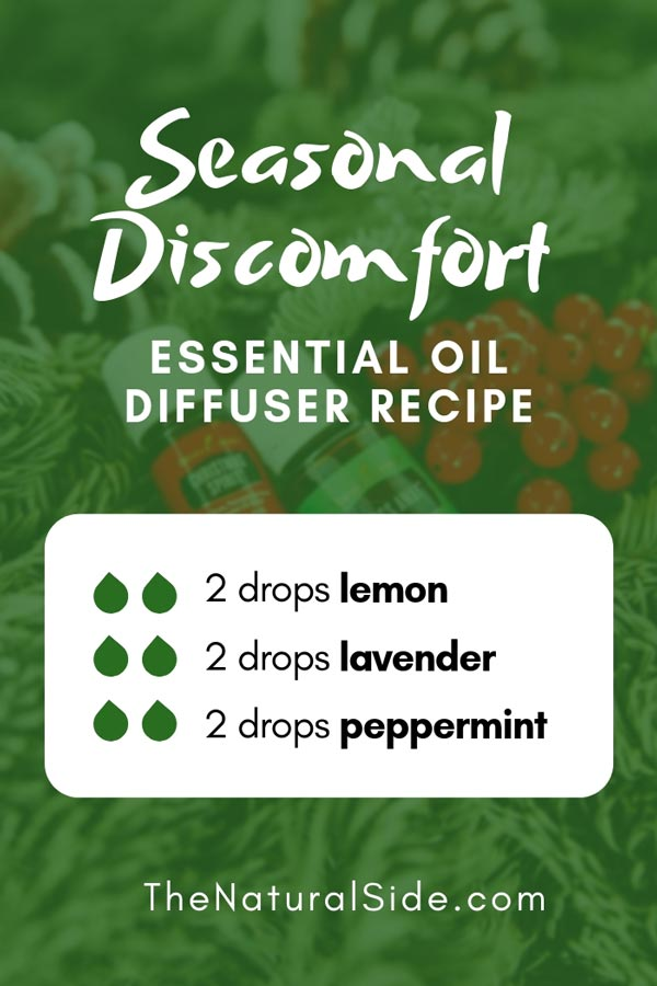 New to Essential Oils? Searching for Simple Essential Oil Combinations for Diffuser? Check out these 21 Easy Essential Oil Blends and Essential Oil Recipes Perfect for Beginners. #essentialoil #diffuser #headache Seasonal Discomfort 2 drops lemon + 2 drops lavender + 2 drops peppermint