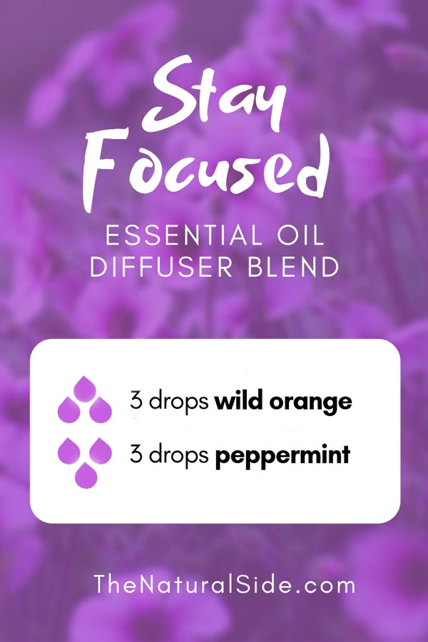 New to Essential Oils? Searching for Simple Essential Oil Combinations for Diffuser? Check out these 21 Easy Essential Oil Blends and Essential Oil Recipes Perfect for Beginners. #essentialoil #diffuser #headache Stay Focused Blend 3 drops wild orange + 3 drops peppermint