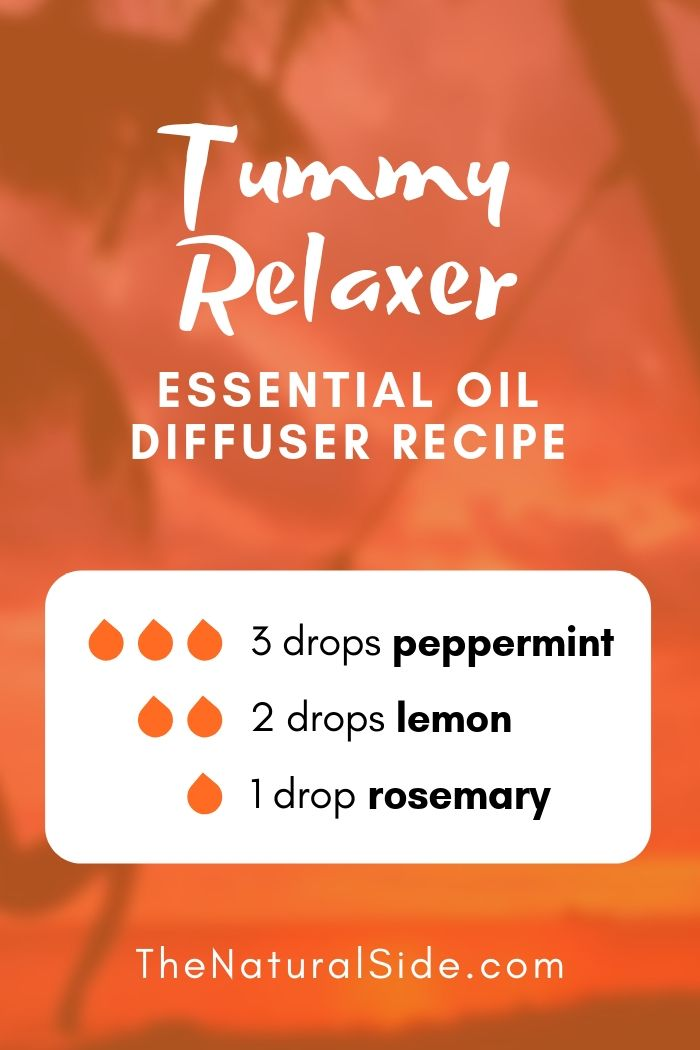 New to Essential Oils? Searching for Simple Essential Oil Combinations for Diffuser? Check out these 21 Easy Essential Oil Blends and Essential Oil Recipes Perfect for Beginners. #essentialoil #diffuser #headache Tummy Relaxer Blend 3 drops Peppermint + 2 drops Lemon + 1 drop Rosemary