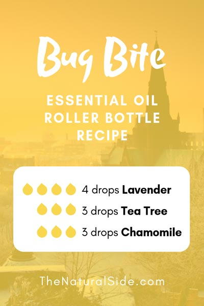 Bug Bite | 4 drops Lavender + 3 drops Tea Tree + 3 drops Chamomile | 15 Best Essential Oil Roller Bottle Recipes for Beginners