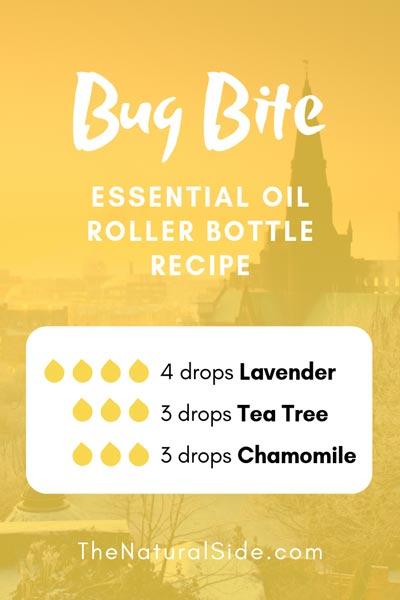 Bug Bite | 4 drops Lavender + 3 drops Tea Tree + 3 drops Chamomile | 15 Best Essential Oil Roller Bottle Recipes for Beginners