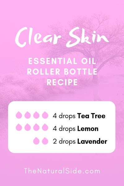 Clear Skin | 4 drops Tea Tree + 4 drops Lemon + 2 drops Lavender | 15 Best Essential Oil Roller Bottle Recipes for Beginners. #essentialoils