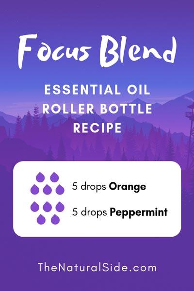Focus Blend | 5 drops Orange + 5 drops Peppermint | 15 Best Essential Oil Roller Bottle Recipes for Beginners