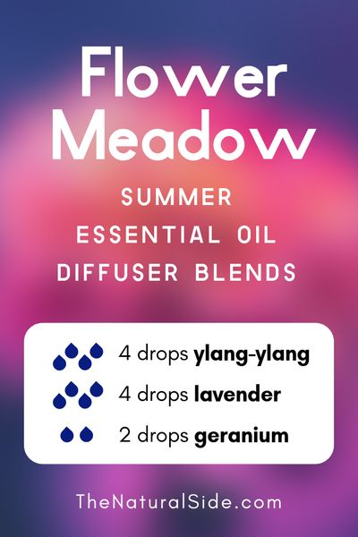 Floral Meadow - Summer Essential Oil Diffuser Blends | 21+ Summer essential oil diffuser recipes blends via thenaturalside.com #essentialoils #summer #diffuser #blends