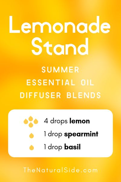 Lemonade Stand - Summer Essential Oil Diffuser Blends | 21+ Summer essential oil diffuser recipes blends via thenaturalside.com #essentialoils #summer #diffuser #blends