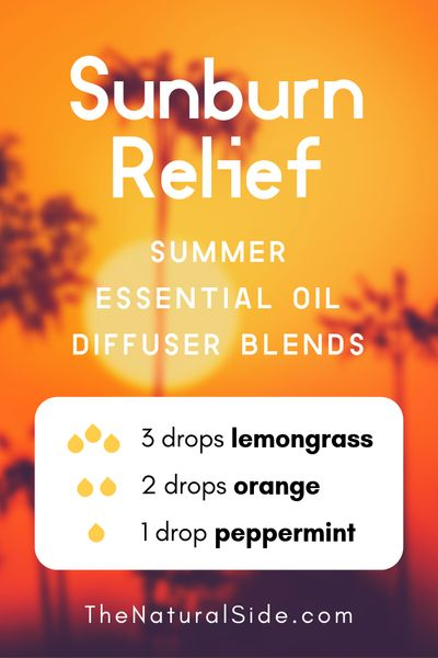 Sunburn Relief - Summer Essential Oil Diffuser Blends | 21+ Summer essential oil diffuser recipes blends via thenaturalside.com #essentialoils #summer #diffuser #blends