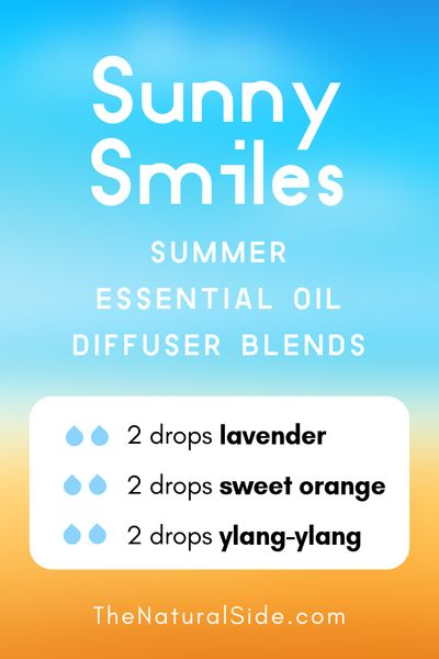 Sunny Smiles - Summer Essential Oil Diffuser Blends | 21+ Summer essential oil diffuser recipes blends via thenaturalside.com #essentialoils #summer #diffuser #blends