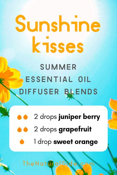 Sunshine Kisses - Summer Essential Oil Diffuser Blends | 21+ Summer essential oil diffuser recipes blends via thenaturalside.com #essentialoils #summer #diffuser #blends