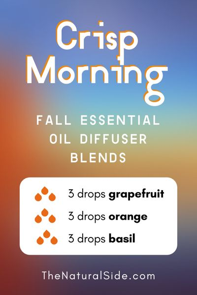 11 Fall Essential Oil Diffuser Blends to Warm Your Home Up. Crisp Morning - 3 drops Grapefruit + 3 drops Orange + 3 drops Basil | Essential Oils Recipes via thenaturalside.com #essentialoils #diffuser #blends #fall