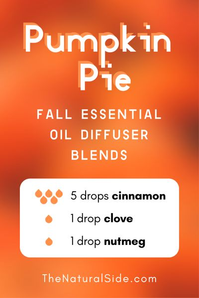 11 Fall Essential Oil Diffuser Blends to Warm Your Home Up. Pumpkin Pie - 5 drops Cinnamon + 1 drop Clove + 1 drop Nutmeg | Essential Oils Recipes via thenaturalside.com #essentialoils #diffuser #blends #fall