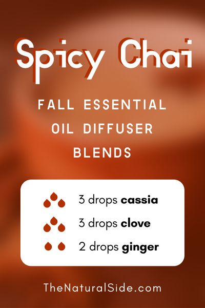 11 Fall Essential Oil Diffuser Blends to Warm Your Home Up. Spicy Chai - 3 drops Cassia + 3 drops Clove + 2 drop Ginger | Essential Oils Recipes via thenaturalside.com #essentialoils #diffuser #blends #fall